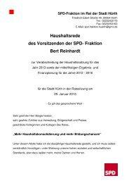 Haushaltsrede 2013 - SPD Ortsverein Hürth