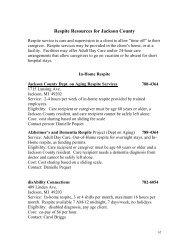 Respite Resources for Jackson County - Jackson County, Michigan