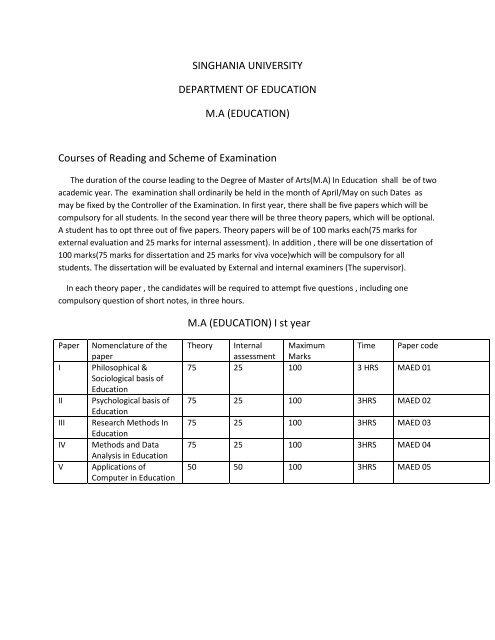 M A  Education Syllabus - Singhania University