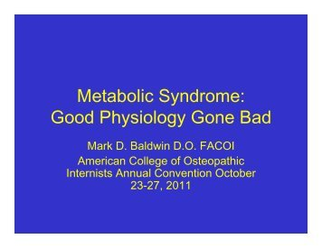 Metabolic Syndrome - American College of Osteopathic Internists