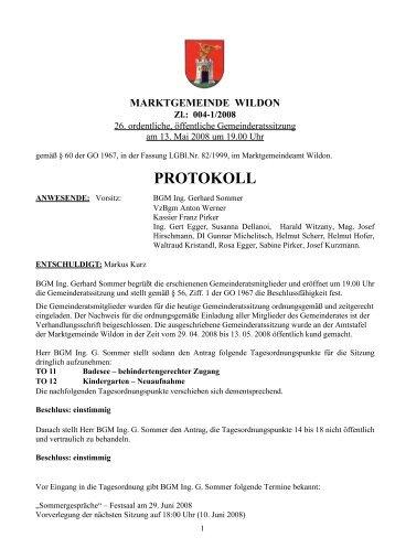 Protokoll der 26. Gemeinderatssitzung - Marktgemeinde Wildon