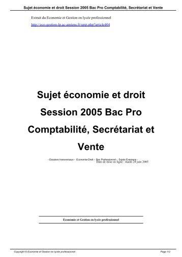 Sujet économie et droit Session 2005 Bac Pro Comptabilité ...