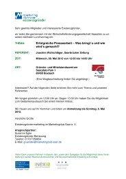 Einladung Lunchvortrag 09. Mai 2012 - Marketingclub Saar
