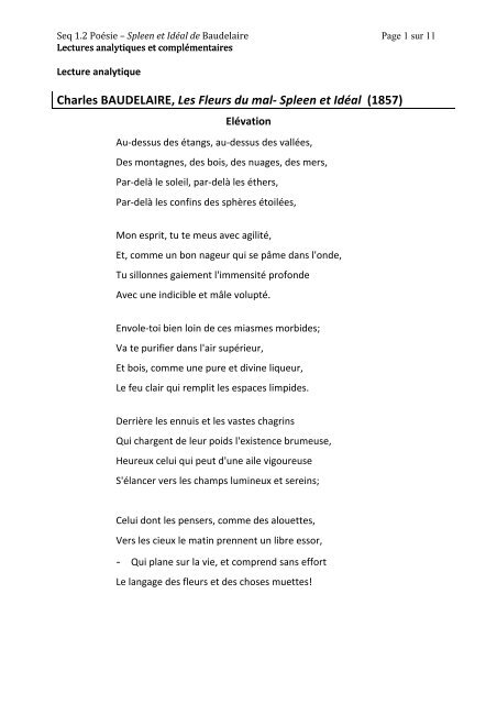 Charles Baudelaire Les Fleurs Du Mal â Spleen Et Idãal 1857