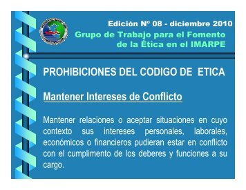 MANTENER INTERESES DE CONFLICTO - Imarpe