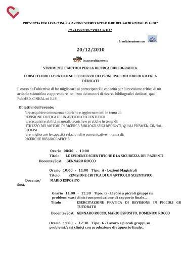 strumenti e metodi per la ricerca bibliografica. corso ... - IPASVI Viterbo