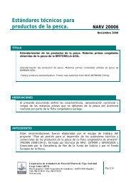 Estándares técnicos para productos de la pesca. NARV 20006 - Arvi
