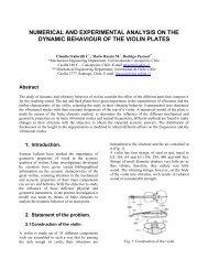 numerical and experimental analysis on the dynamic behaviour