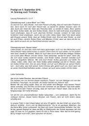 Predigt am 5. September 2010, 14. Sonntag nach Trinitatis