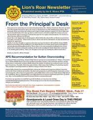 From the Principal's Desk - E. Rivers Elementary School