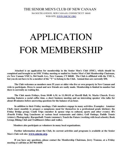 application for membership - The Senior Men's Club of New Canaan
