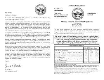 HS Report Card 07 - Millbury Public Schools Community Portal