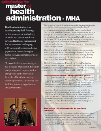 health administration- MHA - Arnold School of Public Health ...