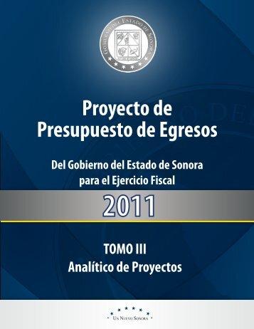 Analítico de Proyectos - H. Congreso del Estado de Sonora