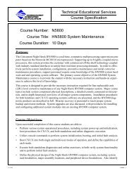 Course Specification Technical Educational Services Course Number