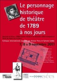 Le personnage historique de théâtre de 1789 à nos jours