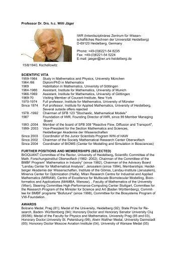 Professor Dr. Drs. h.c. Willi Jäger SCIENTIFIC VITA ... - CellNetworks