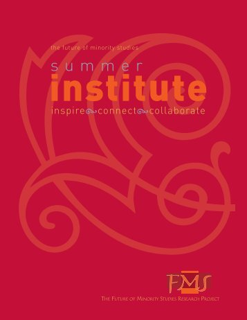 FMS Summer Institute - The Future of Minority Studies Research ...