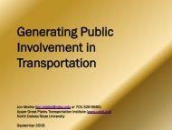 Generating Public Involvement in Transportation