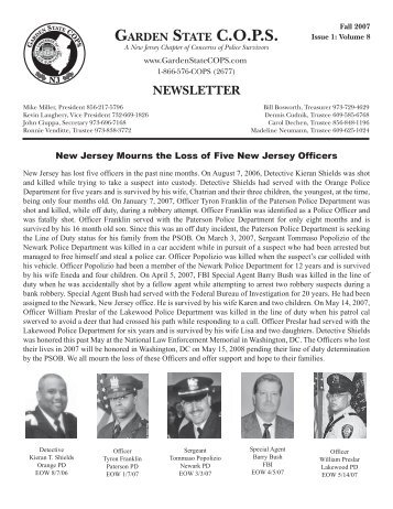CHAPTER NEWSLETTER GARDEN STATE COPS
