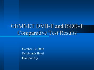 GEMNET DVB-T and ISDB-T Comparative Test Results - DiBEG