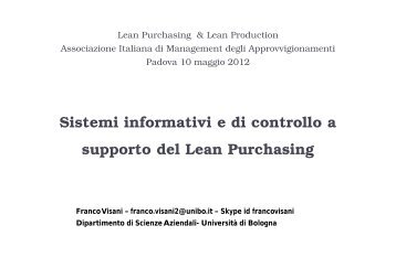 Presentazione Prof. Franco Visani - Adaci
