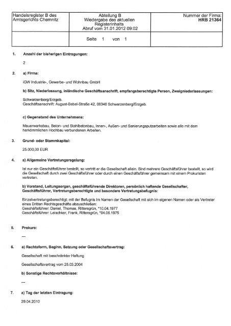 Aktueller Handelsregisterauszug Der Hwk Chemnitz Igw Bau Gmbh