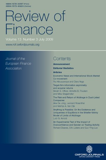 Front Matter (PDF) - Review of Finance - Oxford Journals