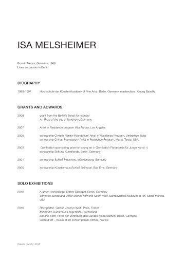 ISA MELSHEIMER - Galerie Jocelyn Wolff
