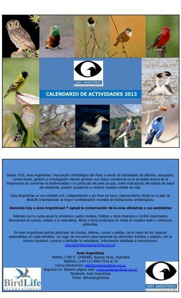 CALENDARIO DE ACTIVIDADES 2013 - Aves Argentinas
