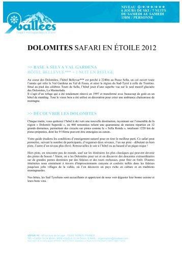 DOLOMITES SAFARI EN ÉTOILE 2012 - Ski Safari 9 vallées