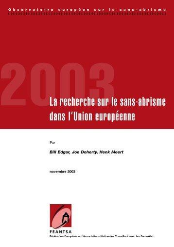 2003La recherche sur le sans-abrisme dans l ... - noticiaspsh.org