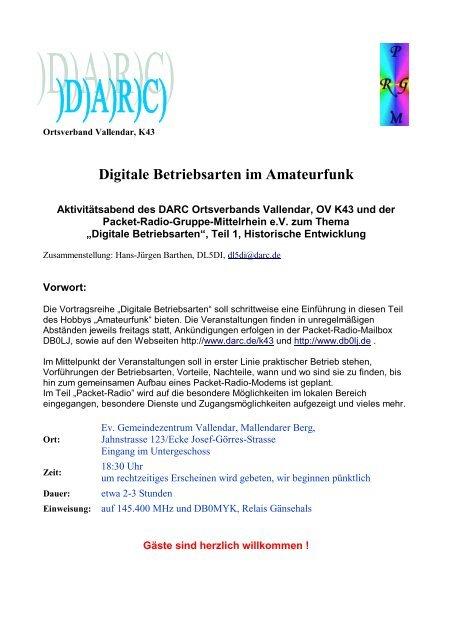 Die Entstehung der Digitalen Betriebsarten - Packet-Radio-Gruppe ...