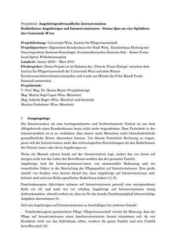 Projektbeschreibung - Institut für Pflegewissenschaft - Universität Wien