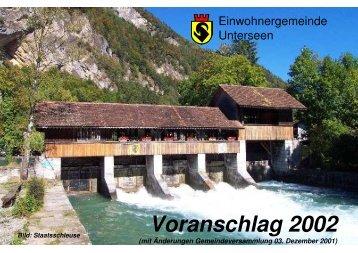 Voranschlag 2002 - Unterseen