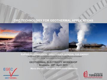 The Company and the Geothermal Applications - EGEC