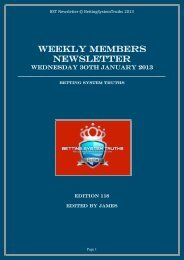 WEEKLY MEMBERS NEWSLETTER - Betting System Truths