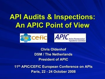 API Audits & Inspections - Active Pharmaceutical Ingredients ...