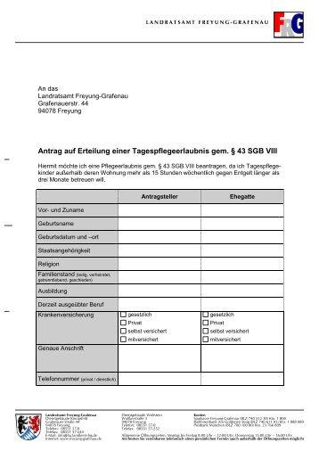 Antrag auf Tagespflegeerlaubnis - Landkreis Freyung-Grafenau