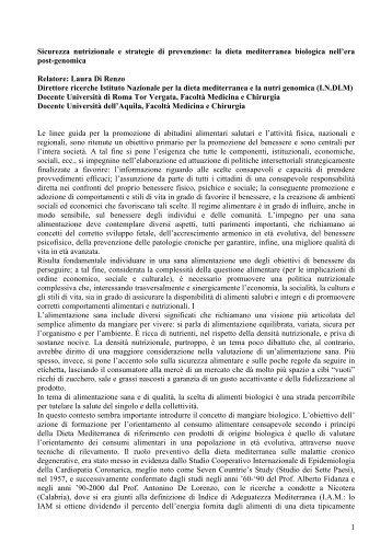 PDF (Sicurezza nutrizionale e strategie di prevenzione: la dieta ...