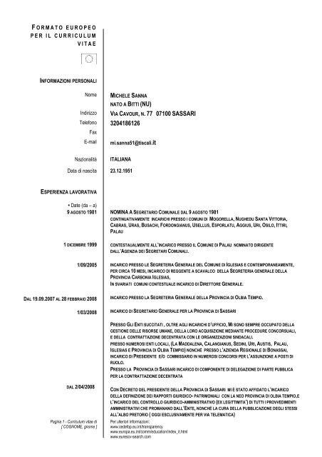 Formato Europeo Per Il Curriculum Vitae Modello Comune Di