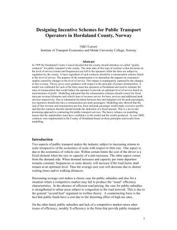 Designing Incentive Schemes for Public Transport Operators in ...