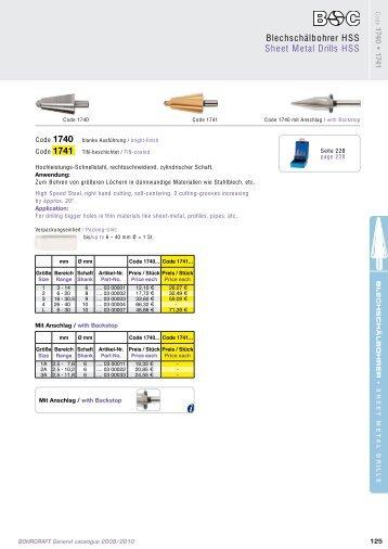 Blechschälbohrer HSS Sheet Metal Drills HSS