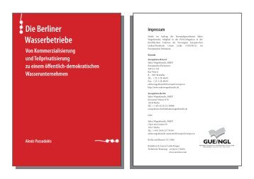 Die Berliner Wasserbetriebe - Von Kommerzialisierung und