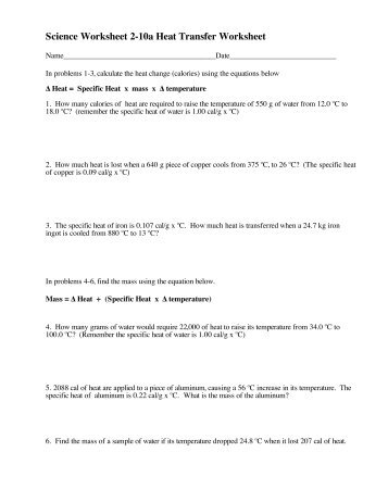 Printables Heat Transfer Worksheet heat transfer worksheet davezan worksheets bloggakuten