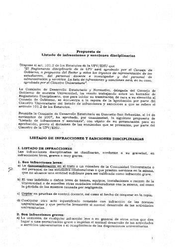 Listado de infracciones y sanciones disciplinarias en la ... - 20Minutos