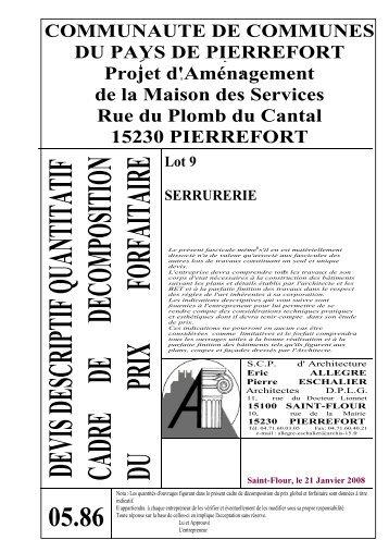 Descriptif Quantitatif Lot 9 Serrurerie   Communauté De Communes Du .