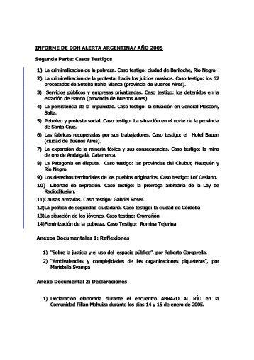 INFORME DE DDH ALERTA ARGENTINA - Maristella Svampa