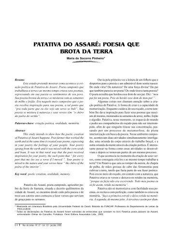 poesia que brota da terra - Revista de Letras - Universidade Federal ...