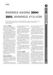 BURSELE AGORA 2004/ 2005. RUNDELE #13-#30 - GInfo